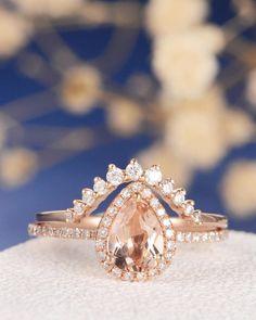 Etsy Unique Rose Gold Engagement Ring Pear Shaped Morganite Ring Chevron Wedding Band Women Diamond Ring