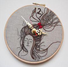 Persinette - Clock - Embroidered Linen Folk Wall Clock - Collaboration piece with Heidi Burton. £225,00, via Etsy.