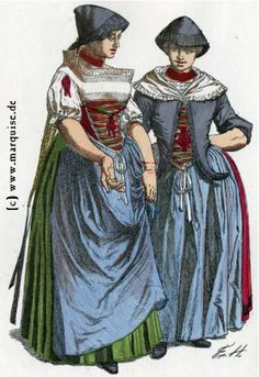 Württemberg (Balingen): Bauernmädchen, um 1790 - farmer girls from 1790 Repinned by www.gorara.com