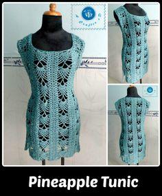 Crochet Pineapple Tunic - Maz Kwok's Designs #freecrochetpattern