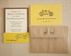 bicycle print rehearsal dinner invitations // photo by Three Photographers