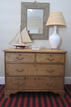 Pine Chest Natural Wood Dresser, Pine Dresser, Mirror Boat, Rope Mirror,  Antique