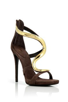 Cacao Suede Sandals with Sculptural Gold-Toned Metal Strap by Giuseppe Zanotti