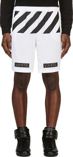 Off-White - White & Black Mesh Virgil Abloh Edition Walkshorts | SSENSE