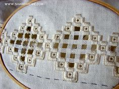 Shabby Home: Tutorial di ricamo con la tecnica Hardanger - Hardanger technique embroidery tutorial