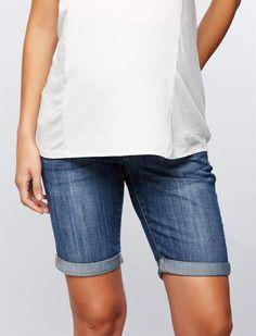 51246fc92f5b6 A Pea in the Pod Luxe Essentials Denim Secret Fit Belly Maternity Bermuda  Shorts