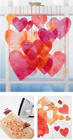 Crayon Hearts (or any shape or color you want) chandelier:  wax paper, wax crayons, hand held sharpener, iron, craft paper, string, scissors | MS