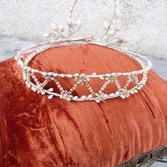 Antiguo Francés Estilo Victoriano, eduardiano Cera Flores Bridal Tiara Corona De Diadema