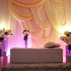 modern fabric draped head table decor for a wedding reception #weddingdecor