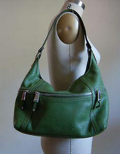 Tignanello Green Genuine Leather Shoulder BAG Purse Silver Hardware | eBay