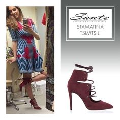 Stamatina Tsimtsili in SANTE Lace-up Heels ‪#‎BuyWearEnjoy‬ ‪#‎CelebritiesinSante‬ Available in stores & online: www.santeshoes.com