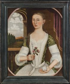 Portrait of Annetje Kool, attributed to Pieter Vanderlyn (ca.1687–1778) Ulster County, N.Y., ca. 1740 Oil on canvas, 30-5/8 x 25-1/4 inches, with original painted frame
