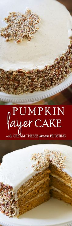 Pumpkin Layer Cake - You'll fall in love with this simple layer cake. #cake #recipe #holiday