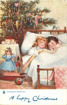 ■ Tuck DB...      two children asleep in bed, toys at bedside | artist: F. Brundage (unsigned)  (first used 24/12/1908)
