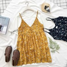 itGirl Shop YELLOW LIGHT FLORAL SLEEVELESS SUMMER DRESS Aesthetic Apparel, Tumblr Clothes, Soft Grunge, Pastel goth, Harajuku fashion. Korean and Japan Style looks