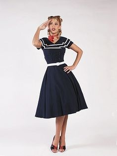 Bettie Page Captain Flare Dress