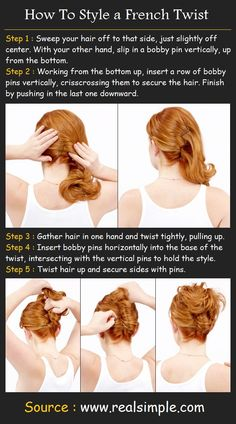 how to french twist your own hair   how to style a french twist how to style step 1 sweep your hair off to ...