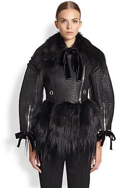 Alexander McQueen Leather & Fur Moto Jacket