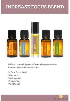 Increase Focus Naturally with these doTERRA Essential Oil blends, suggestions and helpful tips. Buy Essential Oils, Essential Oil Diffuser Blends, Natural Essential Oils, Natural Oils, Natural Products, Beauty Products, Ayurveda, Doterra Oils, Doterra Adhd