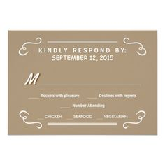 Eat Drink & RSVP Sandalwood Tan Wedding Reply Announcement