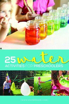 25 Water Activities for Preschoolers - Sixth Bloom Outdoor Water Activities, Summer Preschool Activities, Science Experiments For Preschoolers, Steam Activities, Preschool Learning Activities, Toddler Activities, Teaching Kids, Toddler Crafts, Water Experiments
