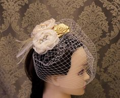 Champagne Fascinator Wedding Headpiece by MagicBluebellDesigns