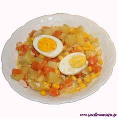 Kartoffel-Möhreneintopf mit Ei Eggs, Breakfast, Food, Boiled Egg, Sliced Almonds, Potato Soup, Cooking, Morning Coffee, Essen