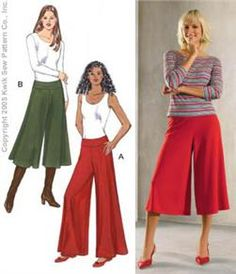 Kwik Sew Misses Palazzo and Gaucho Pants Pattern. horrible pic on the right. Ugly shirt, pants should be longer on her. Gaucho, Sewing Pants, Sewing Clothes, Fashion Sewing, Diy Fashion, Diy Clothing, Clothing Patterns, Pants Pattern Free, Kwik Sew Patterns