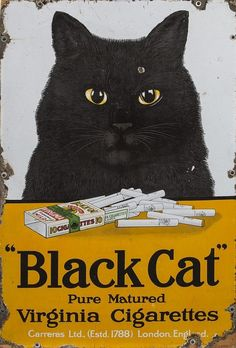 A VERY UNUSUAL ENAMEL ADVERTISING SIGN FOR BLACK CAT VIRGINIA CIGARETTES, i