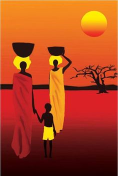 African Savanna Women (Walking in Sun) ~ Art Poster Print ~   byPoster Revolution