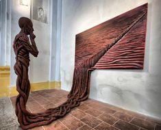 Weird sculpture art | STRANGE ART WORK AND DISPLAYS - ROPE MAN CONTEMPLATES ROPE SCULPTURE ...