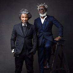 I hope I look this good when I'm older. Fashionable black men gray hair