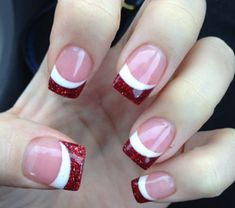 Red glitter side french tip as an accent over a classic french manicure. Very chic and a fun summer look for fourth of July maybe? #nails #naildesign #summerlook