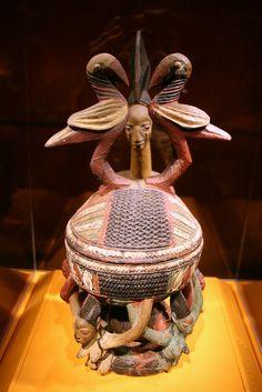 Bowl with Figures, Artist: Olowe of Ise (c. 1875-c. 1938), Yoruba peoples, Ekiti region, Nigeria, Early 20th century, Wood, paint
