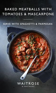 Baked meatballs with tomato and mascarpone make a delicious midweek dinner. For a one-pot meal, stir Meatball Bake, Meatball Recipes, Beef Recipes, Cooking Recipes, Recipies, Barbecue Recipes, Healthy Recipes, One Pot Meals, Main Meals