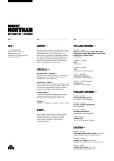 Robert Northam, art director/designer, nice combo of freelance and permanent experience