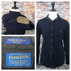 6af5c5e64 Pendleton USA Made Wool Navy Blue Button Front Shirt w  Elbow Patches Mens  Large