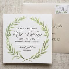 Floral Wreath Save the Date, Wreath Save the Date, Watercolor Save the Date, Modern Wreath Save the Date, Calligraphy Save the Date