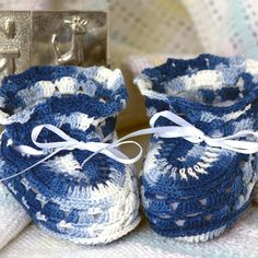 Baby Blues Baby Booties on Handmade Artists' Shop Baby Booties, Baby Shoes, White Ribbon, Baby Needs, Handmade Baby, Shades Of Blue, Baby Blue, Boy Or Girl, Delicate