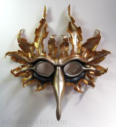 Sun and Moon leather bird mask in antique by edenbee, $139.00 on etsy