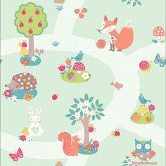 FOREST FRIENDS Mint nursery wallpaper