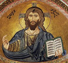 Christ Pantocrator mosaic in Byzantine style, from the Cefalù Cathedral, Sicily