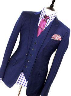 cefe5a7c3003 MENS REISS LONDON NAVY BLUE SLIM FIT 3 PIECE FORMAL  BUSINESS SUIT 40R W34 X