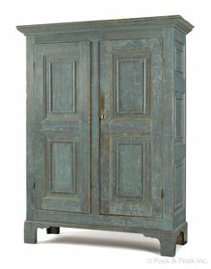 Maine painted pine wall cupboard, ca. with recessed panel doors and bracket feet, retaining a vibrant blue surface, 70 h. Primitive Cabinets, Primitive Furniture, Primitive Antiques, Country Furniture, Vintage Furniture, Painted Furniture, Painted Armoire, Painted Pine Walls, Early American Furniture