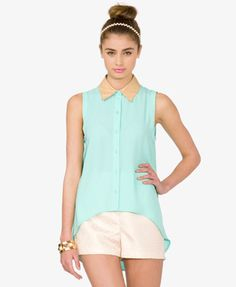 Faux Leather Collar Shirt- Forever 21