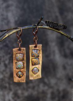 Купить серьги из metal clay и полимерной глины authentic - таня майорова, авторские украшения