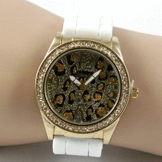 Goldtone Animal Print Bling Watch - White