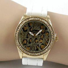 Goldtone Animal Print Bling Watch - White
