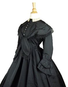 Museum Deaccession Black Silk Faille Lace Collar Maternity Mourning Gown C 1870 | Antique Maternity Gown from the 19th Century.   www.SarahElizabethGallery.com