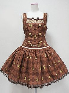 Angelic Pretty Chess Chocolate Dropped Waist JSK in Brown « Lace Market: Lolita Fashion Sales and Auctions